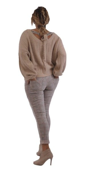 Sweter beżowy z wiązaniem na plecach