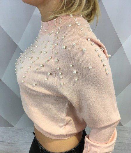Sweter blady róż z perłami M/L