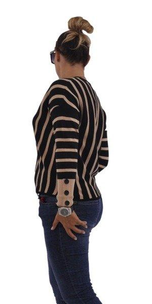 Sweter camel w paski z guzikami S