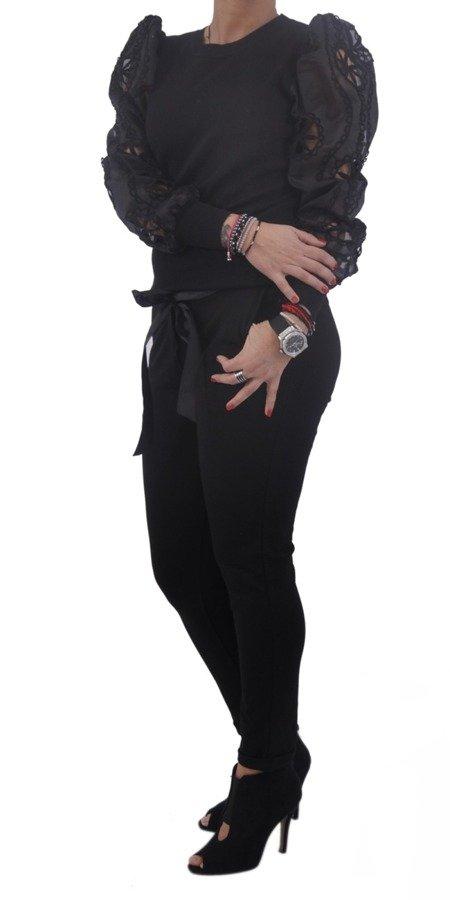 Sweter czarny rękaw tiul koronka M/L