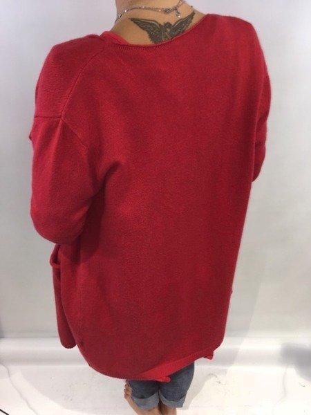 Sweter długi czerwony.