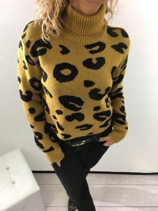 Sweter golf miodowy zwierzęcy wzór M