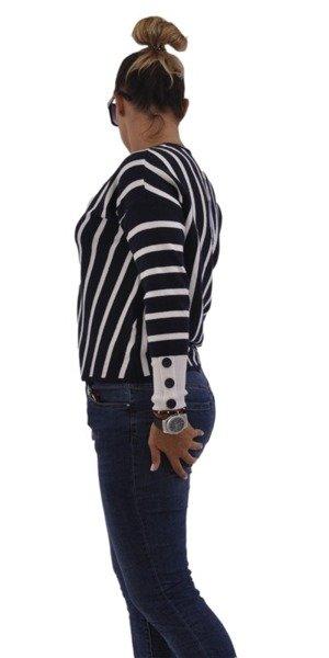 Sweter granat w paski z guzikami M/L
