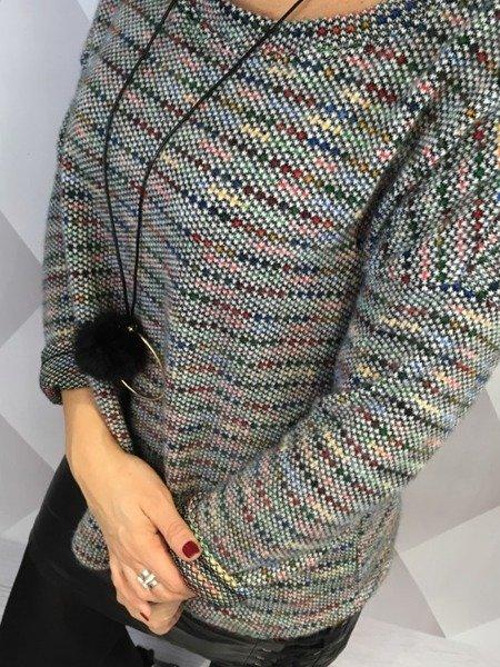 Sweter melanż jasny popiel