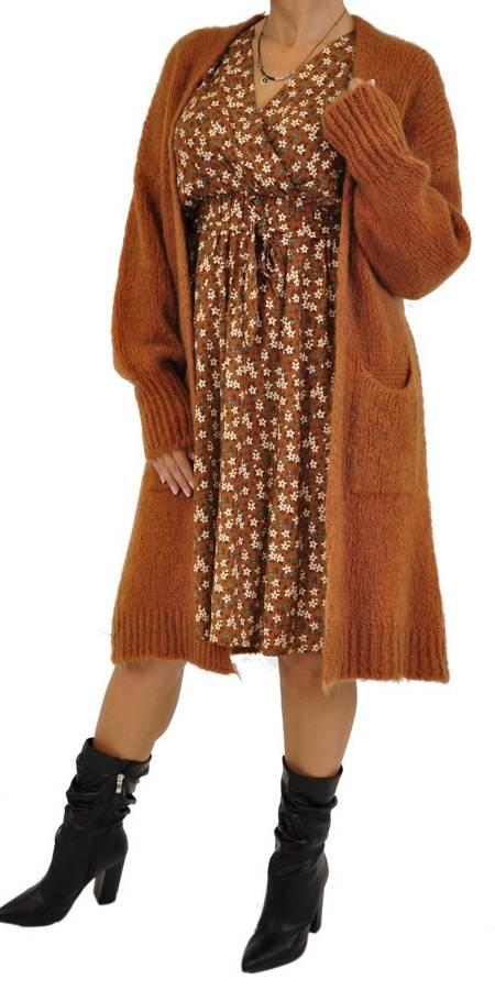 Sweter narzuta rudy kieszenie