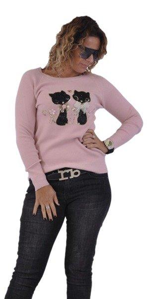 Sweter różowy koty.
