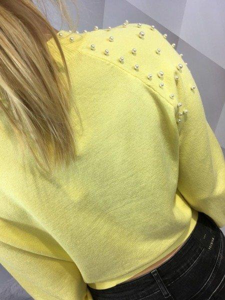 Sweter żółty z perłami   M/L