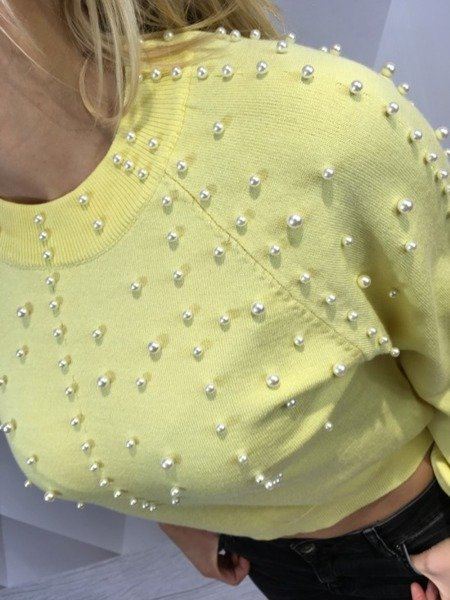 Sweter żółty z perłami S/M