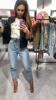 Spodnie jeansowe marszczone w talii S