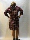 Sukienka krata bordo wiązana