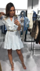 Sukienka niebieska w kratkę z żabotem gipiurą S/M