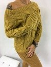 Sweter miodowy z warkoczem