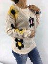 Sweter różowy w kwiaty